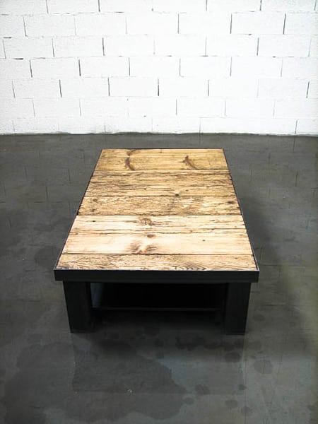 table basse plateau dessus